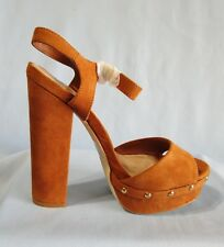 New In Box ShoeDazzle Cognac Platform Chunky Heel Shoes Size 8