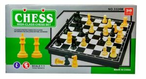 Large Chess Wooden Set Folding Magnetic Chess Board Pieces Wood Board UK Stock