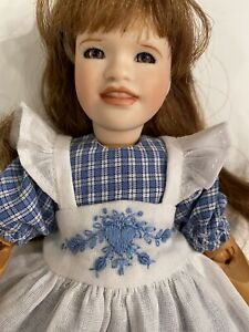 """Boneka 2 Piece Dress Embroidered Pinafore for 23cm Wendy Lawton 9"""" wooden dolls"""