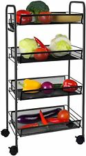 4-Tier Metal Utility Cart Heavy Duty Rolling Organizer Cart for Office/ Home