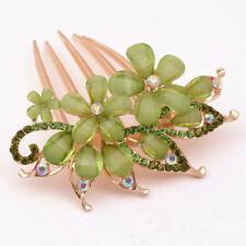 Fashion Flower Crystal Rhinestone bride Hair Comb Clip Green