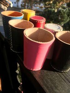 Würfelbecher Leder- kolor blau, pink, gelb, weiss, schwarz, rot, grün farbig 7St
