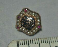Antique PHI DELTA KAPPA Badge 10k Gold Seed Pearl/Ruby Frat FRATERNITY PIN