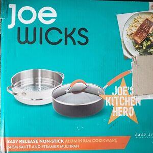 Joe Wicks Saute Steamer Pan Easy Release Aluminium Non-stick Cookware 24 cm/2.8L