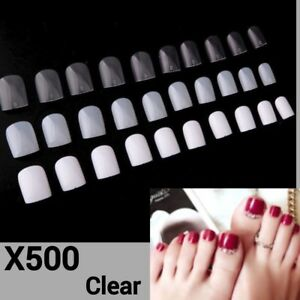 500pcs Clear Acrylic Gel DIY Nail Art Full False Foot Toe Nail Art Tips