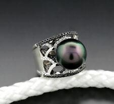 tahitiperl-ring DIAMANTES BRILLANTES 900 PLATINO perla de TAHITÍ 13.5mm D Macizo