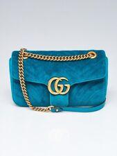 Gucci Verde Acolchado Terciopelo GG Marmont metelasse pequeño bolso de hombro