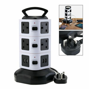 10 Way Switched Surge Protected Tower Extension Lead UK Mains Plug Socket 4 USB