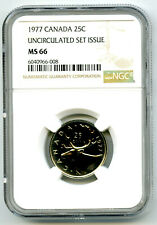 1977 CANADA 25 CENT NGC MS66 CARIBOU QUARTER UNCIRCULATED SET ISSUE POP=5