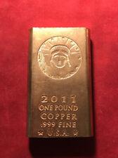1 Pound Copper Bar .999 Fine U.S.A. Copper Bullion