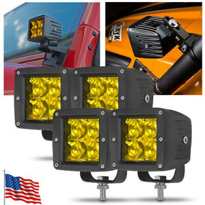 4PC 3in LED Work Light Bar Amber Spot Pods Driving Fog Lamp SUV Truck Offroad US