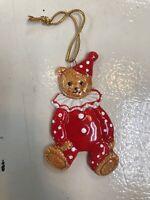 Vintage 1983 GORDON FRASER Schmid Ornament TEDDY BEAR Porcelain CLOWN SUIT