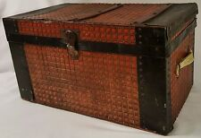 Antique-Pressed Tin-Doll Trunk-Red Checked Metal over Wood w/Wood trim-c.1900's