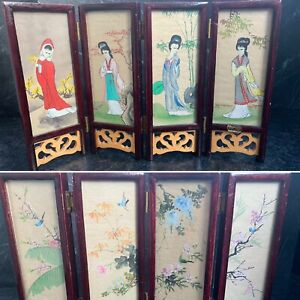 Vintage Chinese miniature folding screen hand painted on linen Room Divider