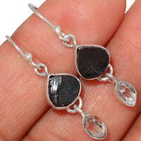 Russian Shungite & Herkimer Diamond 925 Sterling Silver Earrings Jewelry BE2929