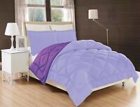 3-Piece Reversible Down Alternative Comforter Set and Shams Lilac /Purple Color