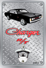Pop A Top Wall Mount Bottle Opener Metal Sign - Hemi RT Charger Black with Rims