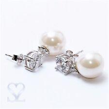 Muschelkernperlen Ohrstecker Ohrringe 925 Sterling Silber Zirkonia Perlen Weiß