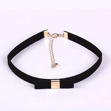 90'S Vintage Black Velvet Choker Bow-knot Gothic Stretch Punk Necklace Gold CK50