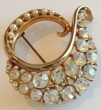 broche vintage couleur or déco relief cristaux diamant perles qualité 302
