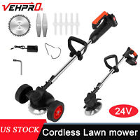 Cordless String Grass Trimmer Weed Eater Lawn Mower With 24V Batteries +2 Wheel