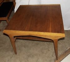 MId Century Walnut / Pecan Drexel Profile Corner Table / Lamp Table
