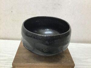 Y2572 CHAWAN Raku-ware Black signed box Japan tea ceremony antique pottery