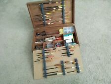 Old school wooden float/tackle box with old school contents