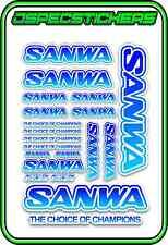 SANWA RC RADIO CONTROL STICKERS MT4 M12 SERVO RX TX CAR BUGGY ELEC BLUE BLEND W