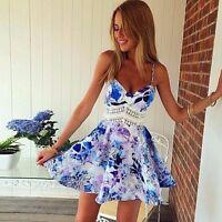 Sexy Women Summer Sleeveless Floral Bodycon Beach Evening Party Mini Short Dress