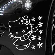 HELLO KITTY Auto Adesivi Auto Tatuaggio circa 10x14 cm in BIANCO