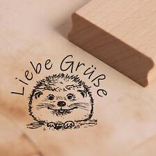 Stempel Holzstempel - Liebe Grüße - süßer Igel Motivstempel Abdruck 48x38mm ❤