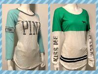 Victoria Secret Pink T Shirt Long Sleeve Sequin Logo Grey White Large L NWT