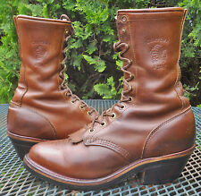 MENS CHIPPEWA USA LEATHER PACKER WESTERN BOOTS Lacer Up Crazy Horse Arroyos 7E