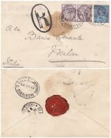 1893 QV LONDON REGISTERED COVER WITH 2 x 1d LILACS & 2½d STAMP TO MILAN RED SEAL