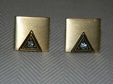 Vintage Brushed Gold Filled Triangle Shaped Cufflinks