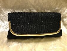 SPARKELY BLACK Ladies Clutch/Hand Bag Wedding, Prom,Evening Party.Great Quality