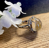 4.8g SWEET CITRINE GOLDEN SUN RUTILE CRYSTAL HEALING RING  Madagascar REIKI