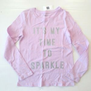 """Gap Kids 'It's My Time To Sparkle"""" Graphic Lilac Shirt - M (8) - NWT"""