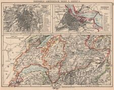 Western Swizerland Bruselas Amsterdam. Berne del Vaud Ginebra Friburgo 1906 Mapa Antiguo