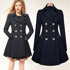 Womens Double Breasted Trench Coat Jacket Slim Long Lapel Winter Peacoat Costume
