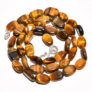 """New 13x18mm Natural Tiger Eye Gemstone Oval necklace 18"""" 925 silver Clasp"""