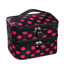 Women Double Layer Travel Cosmetic Bag Makeup Case Toiletry Organizer RoseredDot