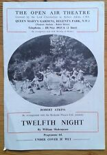 Twelfth Night programme The Open Air Theatre 1959 Ian White Peter Street