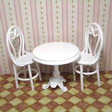 1:12 Casa Bambole Miniatura Mobile Tavolo Da Pranzo Sedie Set Metallo Bianco