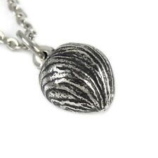 Hazelnut Nut Necklace, Handmade Nature Pendant Jewelry in Pewter