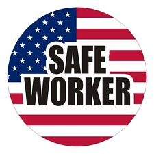 American Flag Safe Worker Hard Hat Decal Sticker Label Motorcycle Patriotic USA