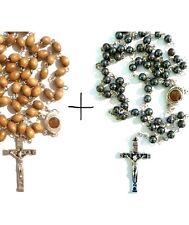 Fine Olive Wood Rosary + Hemetite Stone Rosary Set With Soil From Jerusalem Lot