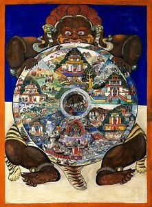 YAMA LORD OF DEATH, Tibetan Religious & Inspirational CANVAS ART PRINT 24x30 in.