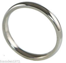Mens or Ladies Wedding Band 3 mm White Gold IP 316L Stainless Steel Ring Size 10